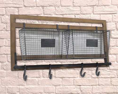Industrial Wood Frame Cage & Meat Hook Rail